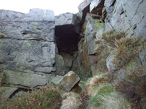 "Wharncliffe Crags - The so-called ""Dragon's Den"" cave at the southern end of the crags"
