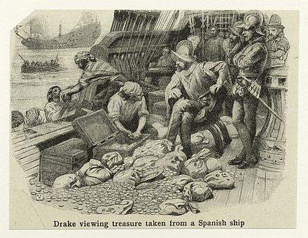 Drake viewing treasure taken from a Spanish ship, print courtesy New York Public Library Drake-treasure.jpeg