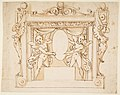 Drawing for a Memorial Tablet- Two Winged Children Holding an Empty Oval in a Frame with Gryphons MET DP812305.jpg