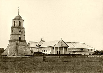 Negros Oriental - The Dumaguete Church with its belfry built in the 1760s and 1870s to warn townsfolk of attacks by marauding pirates. (circa 1891)