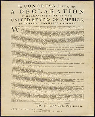 Physical history of the United States Declaration of Independence - The Library of Congress's copy of the Dunlap broadside.