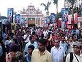 Durga Puja Pandal with Spectators - Baghbazar Sarbojanin Durgotsav - Nivedita Park - Kolkata 2013-10-13 01805.jpg