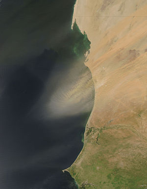 Geography of Mauritania - Dust plume off Mauritania.