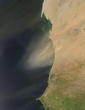 Geography of Mauritania - Dust plume off Mauritania.