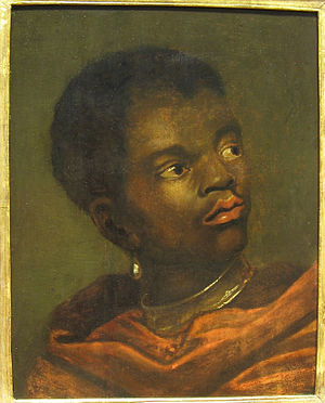 Representation of slavery in European art - Black boy with slave collar, Dutch 17th-century painting.