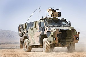 A Dutch Army Bushmaster in 2008. This vehicle has been fitted with a remote weapons station.