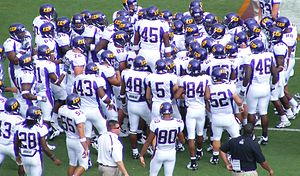 East Carolina Pirates - The East Carolina Pirates gather at the sideline as they prepare to take on the 2007 Virginia Tech Hokies football team