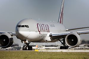 Qatar Airways - A Boeing 777F of Qatar Airways Cargo taxiing at Amsterdam Schiphol Airport