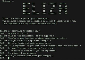 Перші заявлені проходження Тесту Тюрінга - ELIZA