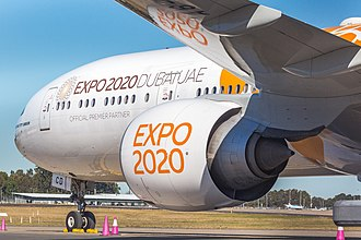 Emirates (airline) - Boeing 777-300ER with the Expo 2020 Orange Livery at Sydney Airport