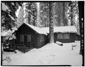 EXTERIOR, LOOKING WEST - Giant Forest Lodge Historic District, Cabin No. 5, Three Rivers, Tulare County, CA HABS CAL,54-THRIV.V,1-G-1.tif