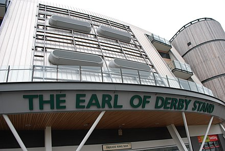 The Earl of Derby Stand at Aintree Racecourse; home of the Grand National Earl of Derby Stand and Aintree Racecourse.JPG