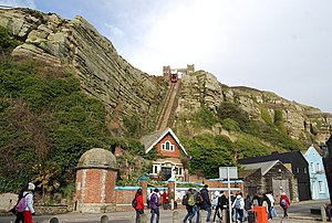 East Hill Cliff Railway - View of the line showing both stations