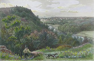 East Rock - East Rock, New Haven, an 1872 engraving showing the Mill River, with New Haven in the distance