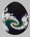 Easter egg painted with a Julia set, defined by the complex function, f(z)=z^2-0.8 + 0.156 1j.png
