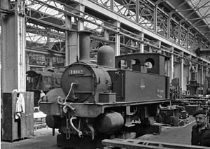 Eastleigh Works - B4 0-4-0T 30102 at Eastleigh 1964