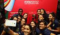 Ecuador women's national team with Women's World Cup trophy (16895668091).jpg