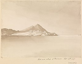 Edward Gennys Fanshawe, Fort and village of Navarino (Pylos), Septr. 26th 1857 (Greece).jpg