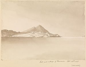 New Navarino fortress - View of the fortress from the sea, 1857