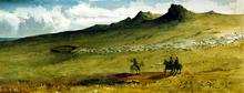 Tre uomini in cavallo esaminare un insediamento pastorale