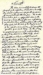 Jenner's handwritten draft of the first vaccination.