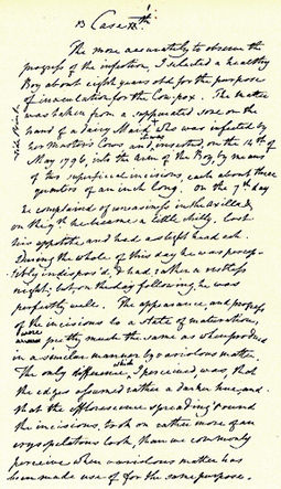 Handwritten draft describing Edward Jenner's first vaccination. The document is held at the Royal College of Surgeons in London Edward Jenner manuscript.jpg