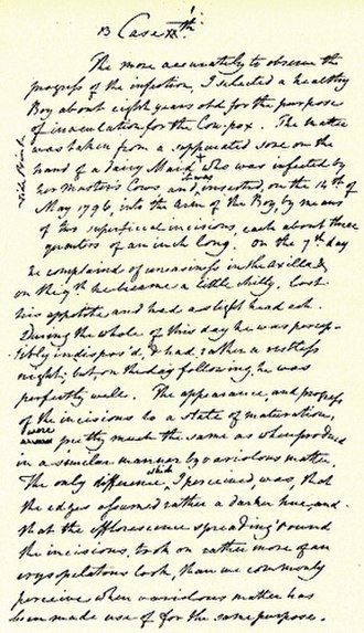 Vaccination - Handwritten draft of Edward Jenner's first vaccination. The document is held at the Royal College of Surgeons in London