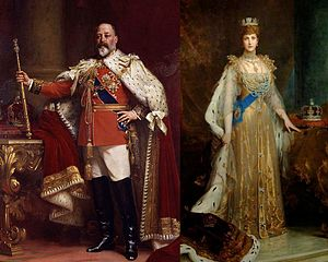 Coronation of King Edward VII and Queen Alexandra - Edward VII and Alexandra in coronation robes, by Luke Fildes