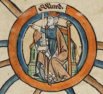 Edward the Elder - Portrait miniature from a 13th century genealogical scroll depicting Edward