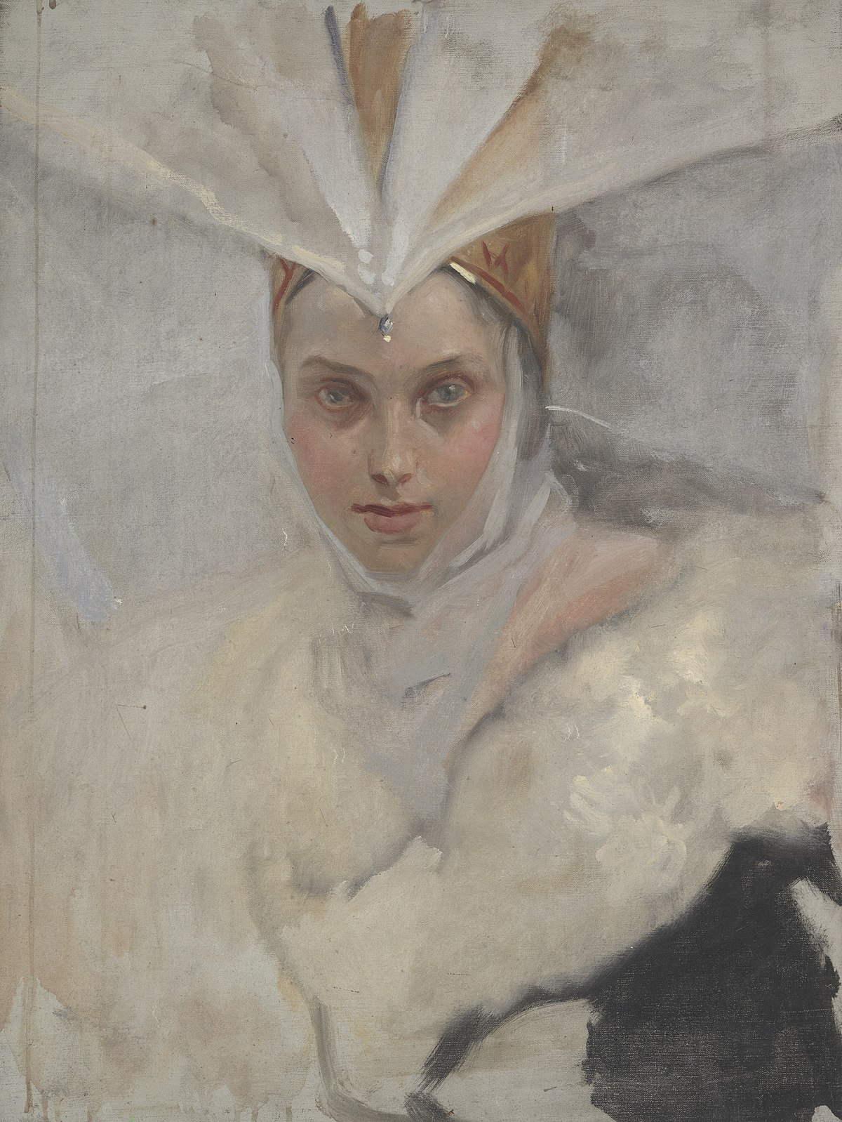 bce03ea9580 Woman with osprey headdress and white fur collar - Wikidata