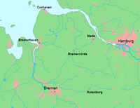 Location of the Elbe–Weser triangle within Germany
