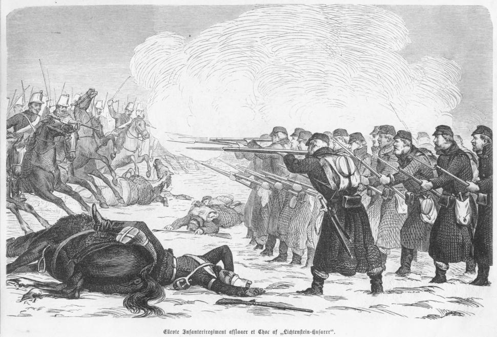 Ellevte Infanteriregiment afslaaer et Choc af Lichtenstein-Husarer
