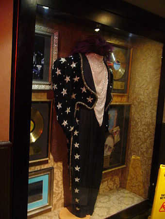 Elton John costume from the 1986 Tour de Force Australian concerts, on display in the Hard Rock Cafe, London Elton John costume.jpg