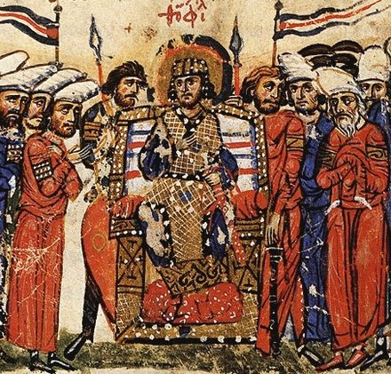An emperor of the Byzantine Empire is guarded by two Vikings with spear (Varangian Guardsmen). From the Chronicle of John Skylitzes. Emperor Theophilos Chronicle of John Skylitzes.jpg