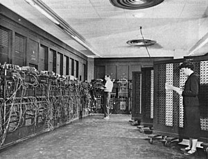 Betty Holberton - Betty Holberton (right foreground) programming the ENIAC computer in Philadelphia, Pennsylvania, BRL building 328 (1940s/1950s)