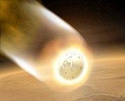 Vue d'artiste de la rentrée atmosphérique du Mars Exploration Rover.