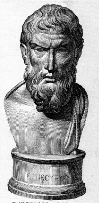 Epicurus - Illustration from 1885 of a small bronze bust of Epicurus from Herculaneum. Three Epicurus bronze busts were recovered from the Villa of the Papyri, as well as text fragments.