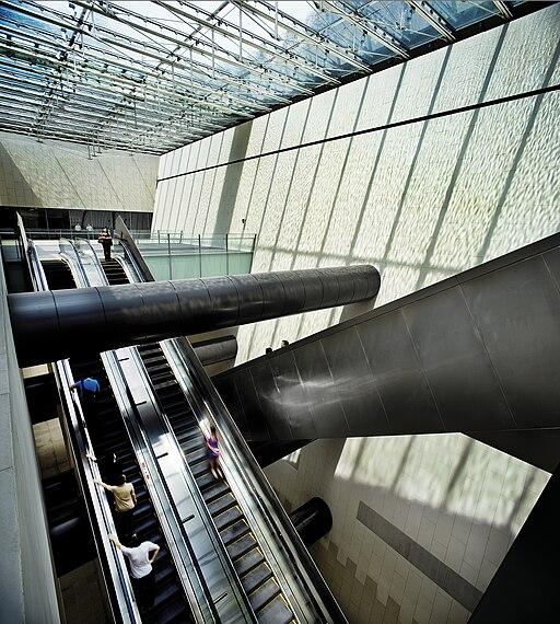 Escalators in Bras Basah MRT Station, Singapore