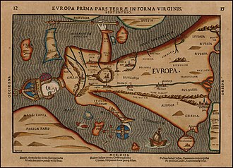 Europe - Depiction of Europa regina ('Queen Europe') in 1582.