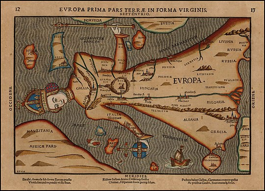 Depiction of Europa regina ('Queen Europe') in 1582. Europa Prima Pars Terrae in Forma Virginis.jpg
