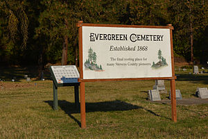 Fort Colville - Sign for the Evergreen Cemetery established 1868. Stevens County, Washington