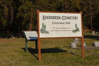 Fort Colville - Sign for the Evergreen Cemetery established 1868. Stevens County, Washington