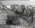 Exhibit 5- roadside exhibit at joints and fractures. ; ZION Museum and Archives Image 007 01 038 ; ZION 8787 (2a259c11ca5645e5ab6de39dc25578bf).jpg