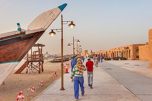 Expatriate workers on Al Wakrah Corniche, Al Wakrah Heritage Village