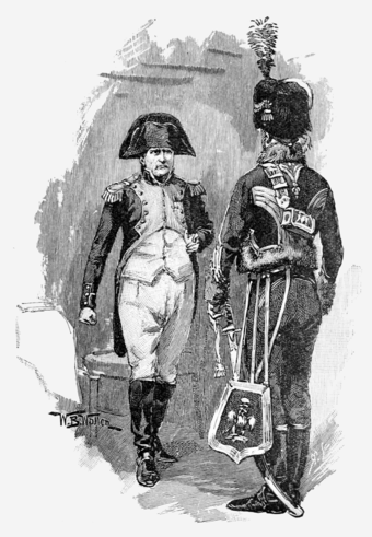 "Brigadier Gerard receiving his medal from Napoleon Bonaparte in ""The Medal of Brigadier Gerard""; from The Strand Magazine, December 1894. Exploits of Brigadier Gerard, plate page 343.png"