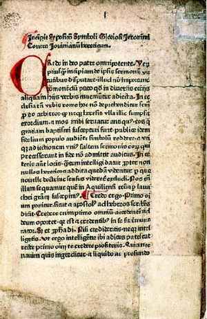 Ulrich Zell - A leaf from the Expositio symboli, ca. 1470, National Library of Poland.