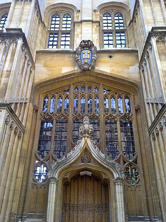 Divinity School, Oxford - Image: External door north face oxford divinity school
