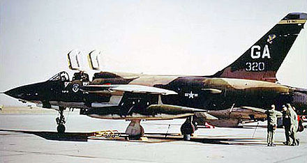 Republic F-105F-1-RE Thunderchief, AF Serial No. 63-8320 of the 561st Tactical Fighter Squadron, 35th Tactical Fighter Wing, George Air Force Base, California, November 1973. Converted to F-105G in 1972. This aircraft scored 3 MiG kills in Vietnam with the 388th TFW and is currently on display at the National Museum of the United States Air Force. (U.S. Air Force photo) - George Air Force Base