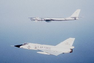 102nd Intelligence Wing - F-106A intercepting a Tu-95 Bear over Nova Scotia. This F-106 later crashed in 1983.