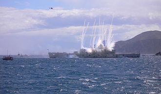 Sinking ships for wreck diving sites - Explosives detonating to sink HMNZS Wellington (F69) in 2005